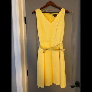 Tahari yellow dress with pockets and belt